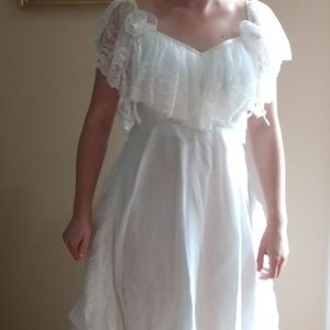 Vintage Wedding Dress - Off/On the shoulder - 80's